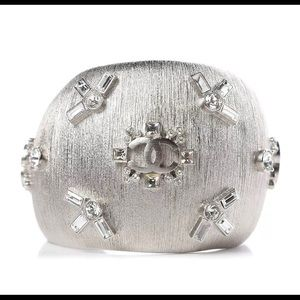 Chanel Brushed Textured Silver CC Cuff